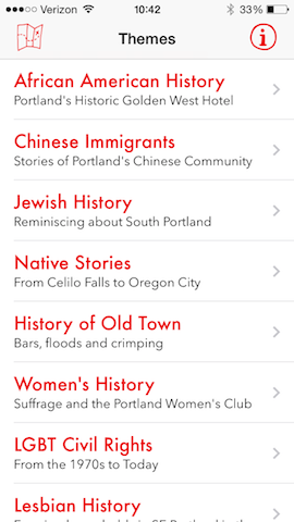 PDX Social History Guide- mobile app screenshot