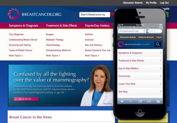 The Breastcancer.org mobile home page (as viewed on an iPhone) shown in comparison with the desktop home page