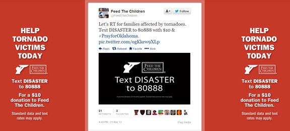 Feed the Children's tweet in support of fundraising for Oklahoma tornado recovery