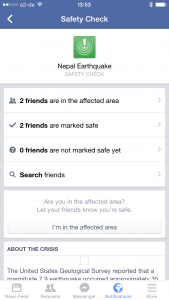 Nepal Earthquake Facebook Safety Check