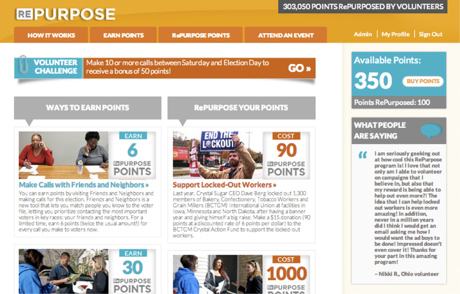 The RePurpose website, on Election Day 2012