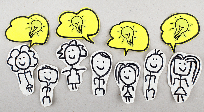 Cut-out people and their great ideas