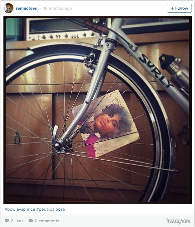 Prince album cover in a bike wheel.
