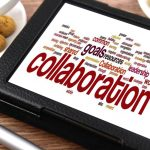 """Collaboration"" word cloud on a tablet."