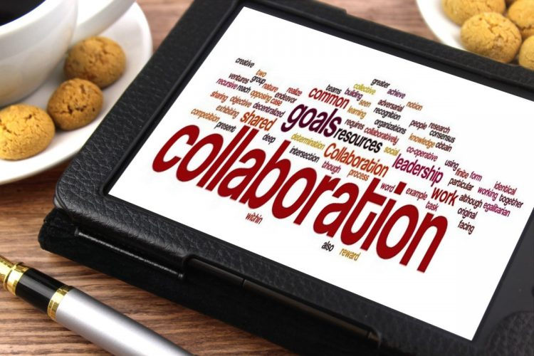 """""""Collaboration"""" word cloud on a tablet."""