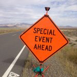 """""""Special event ahead"""" sign."""