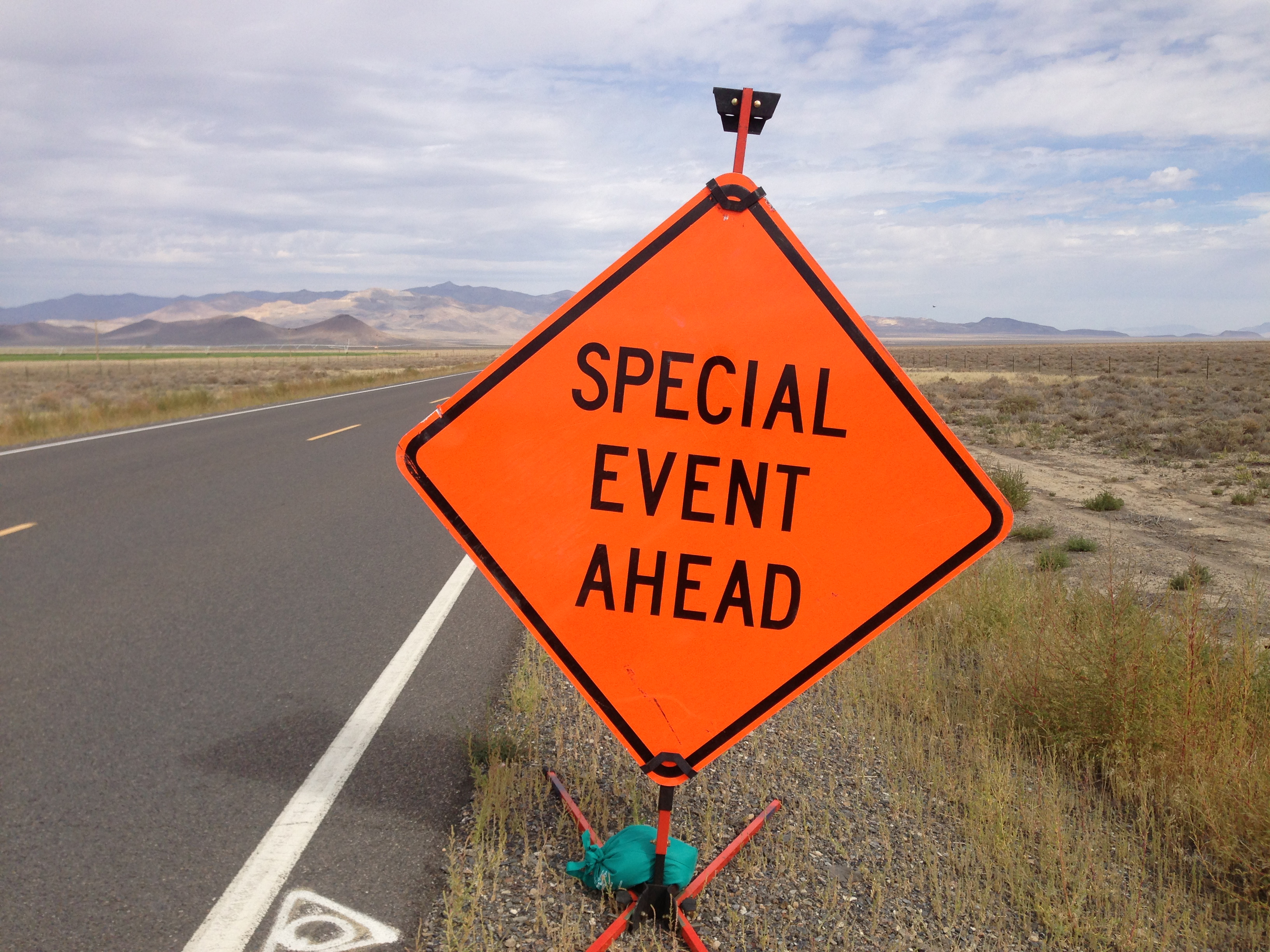 Special event ahead sign.