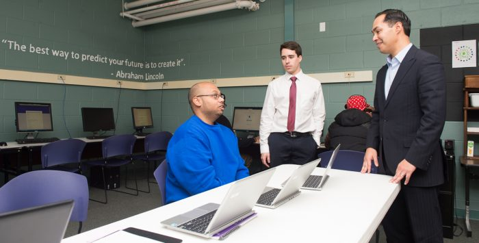 Ray McKay and Adam Strizich during HUD Secretary Julian Castro's visit to the Center