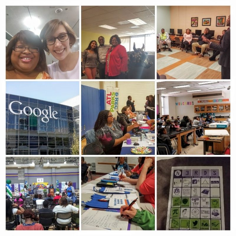 A collage of 9 photos featuring Fellow Aneta Lee and her digital inclusion work in Atlanta, Georgia.