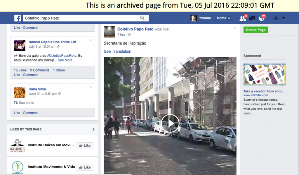 Interactive Facebook wall, including published live video, as captured by webrecorder and browsed using their desktop webarchiveplayer.