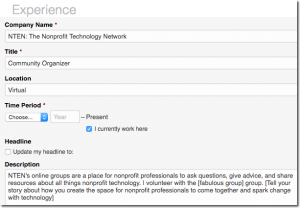 Example of LinkedIn experience