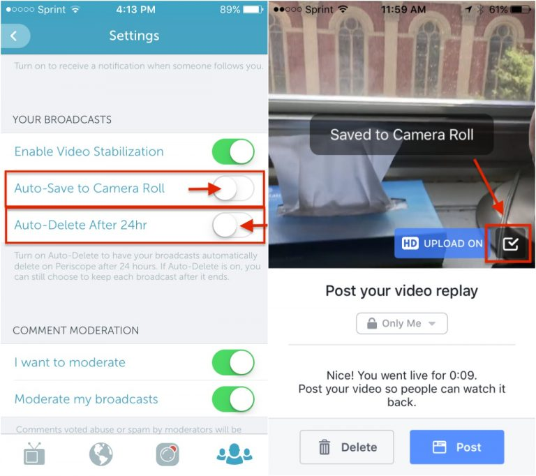 Periscope and Facebook Live allow you to save your video to your device.