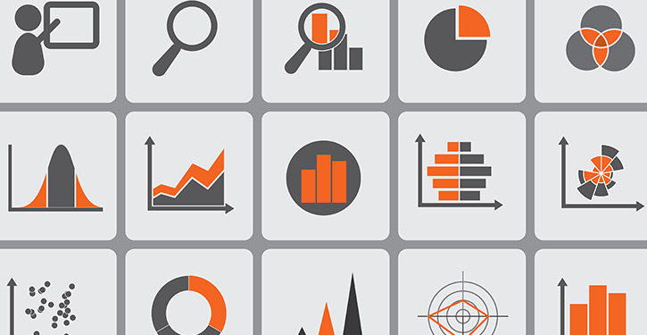 An illustration showing several different methods of visualizing data, such as column charts, graphs, and pie charts.