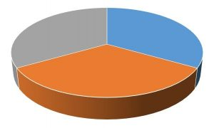 a pie chart split into 3 equal segments, with the bottom orange segment appearing largest because the image is 3D
