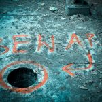 "a picture of a hole in a floor with the word ""beware"" spray painted next to it"