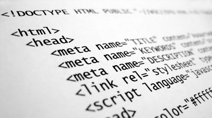 Close-up photo of lines of HTML code