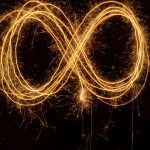 Photo of sparklers creating an infinity loop symbol