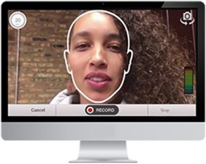 Woman on screen recording a video