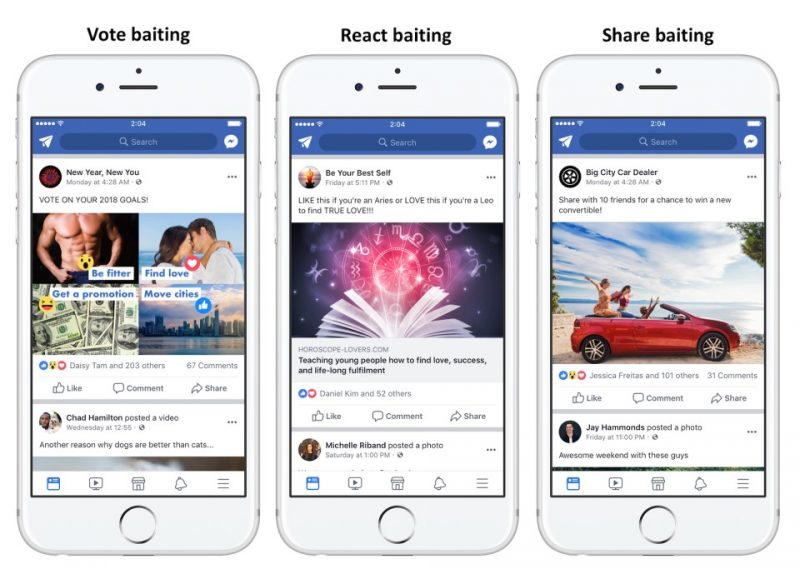 Screenshots of posts on Facebook, illustrating vote baiting, react baiting, and share baiting