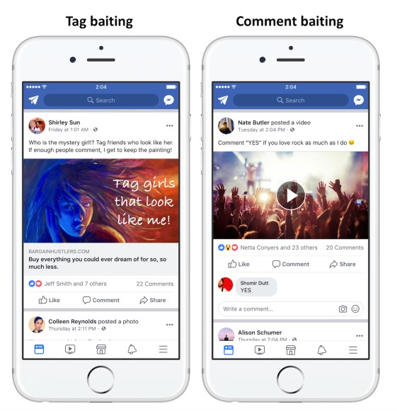 Screenshots of posts on Facebook, illustrating tag baiting and comment baiting