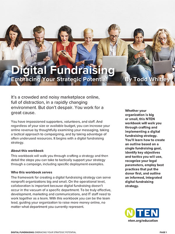 cover image of the NTEN digital fundraising workbook