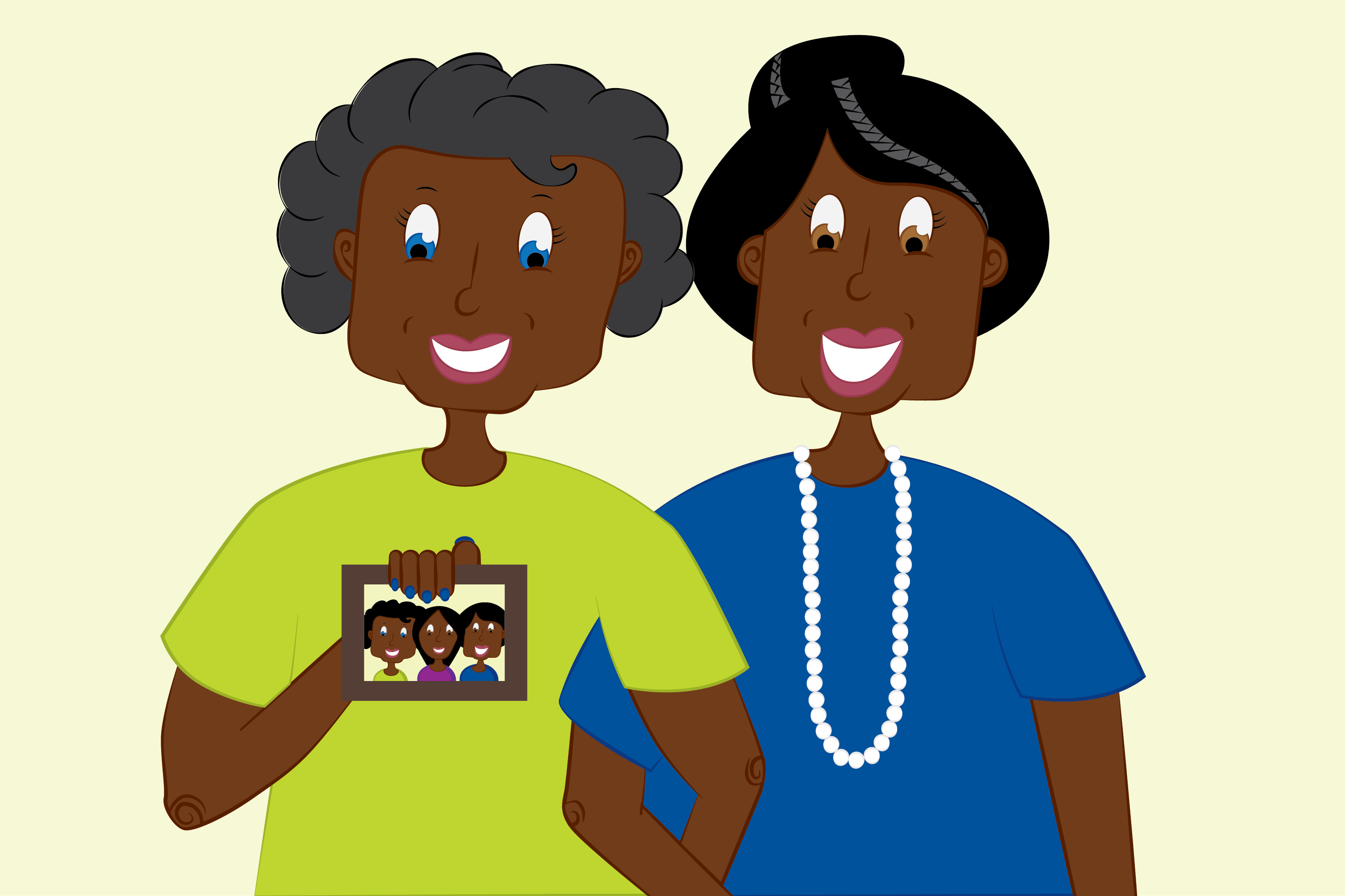 an illustration of two elderly women holding a photo of three people