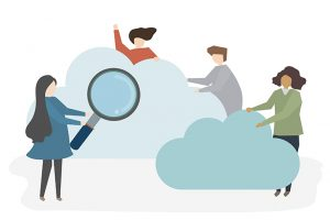 Illustration of several staff working in the cloud.