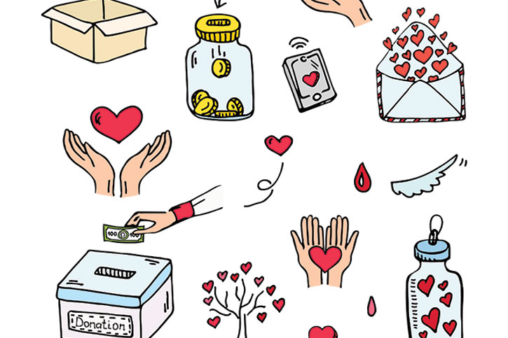 A drawing of fundraising means - money in a box, coins in a jar, hands with hearts.