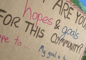 Hopes and goals for community on bulletin board