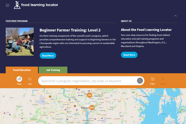 Homepage of the Food Learning Locator