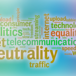 A word cloud of terms associated with net neutrality.