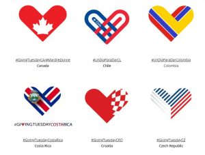 Illustration showing the Giving Tuesday heart logo versioned across six countries with a corresponding hashtag.