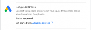 Old Version of G4NP Showing Google Grants Application as Approved