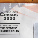 """An envelope that reads, """"United States Census 2020. YOUR RESPONSE IS REQUIRED BY LAW."""""""