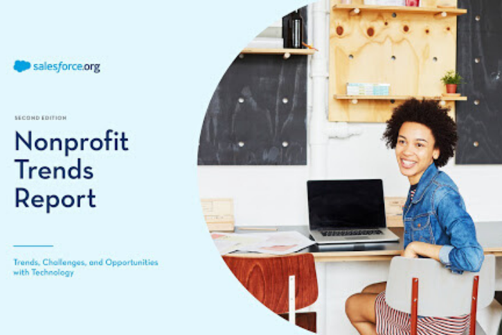 Text: salesforce.org Nonprofit Trends Report. Image: woman sitting at a desk sideways on a chair