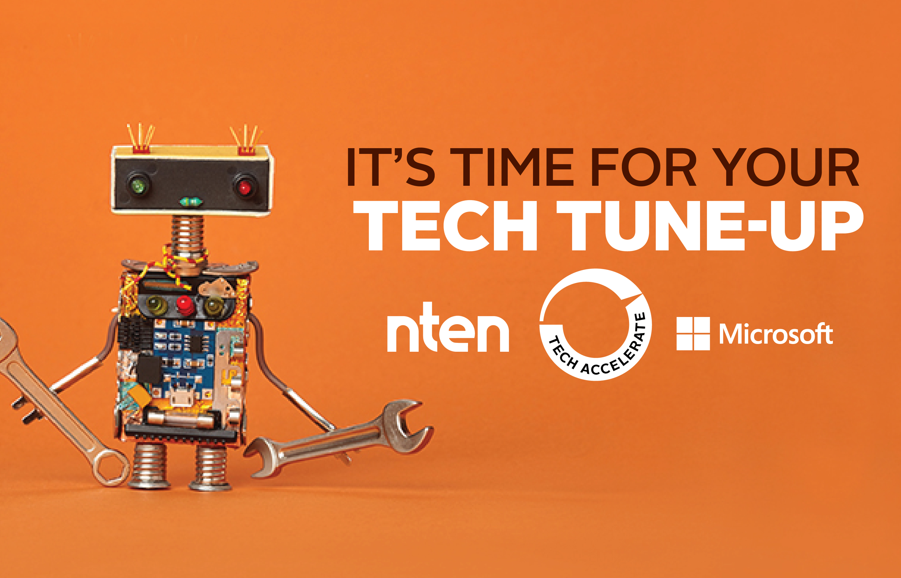 A robot holds wrenches alongside the text, Its time for your tech tuneup.
