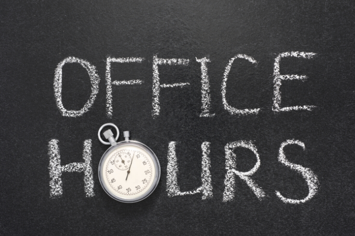 OFFICE HOURS written on a chalkboard, and the O in hours is a pocket watch.