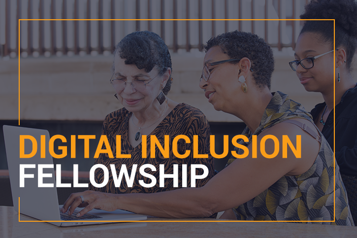 Digital Inclusion Fellowship over an image of two older woman working on a laptop with a younger woman nearby