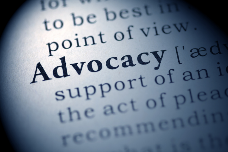 Closeup of Advocacy in a dictionary