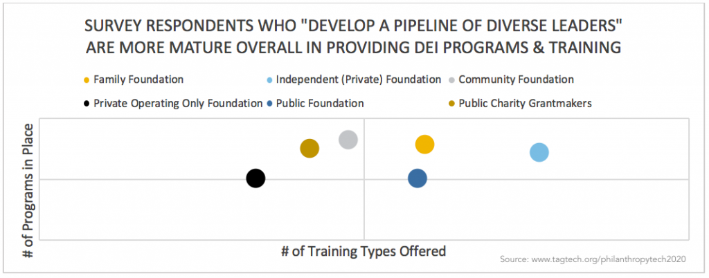 """Bubble chart showing DEI Programs And Trainings Offered By: Respondents Who """"Develop A Pipeline Of Diverse Leaders"""""""