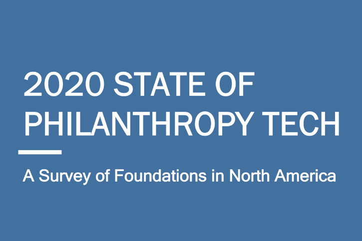 White text on a blue-grey background: 2020 State Of Philanthropy Tech. A Survey Of Foundations In North America.