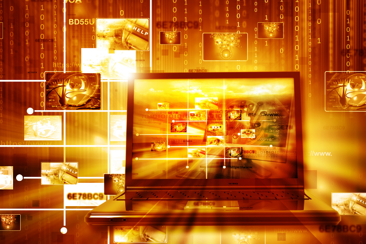 Orange tinted photo of an open laptop surrounded by binary code.