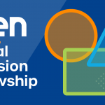 """NTEN digital inclusion fellowship"" in white on a blue background with an overlapping orange circle, blue triangle, and green square to the right of the text."