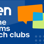 """NTEN online forums & tech clubs"" in white on a blue background with text bubbles on the right."