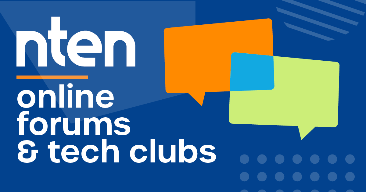 NTEN online forums & tech clubs in white on a blue background with text bubbles on the right.