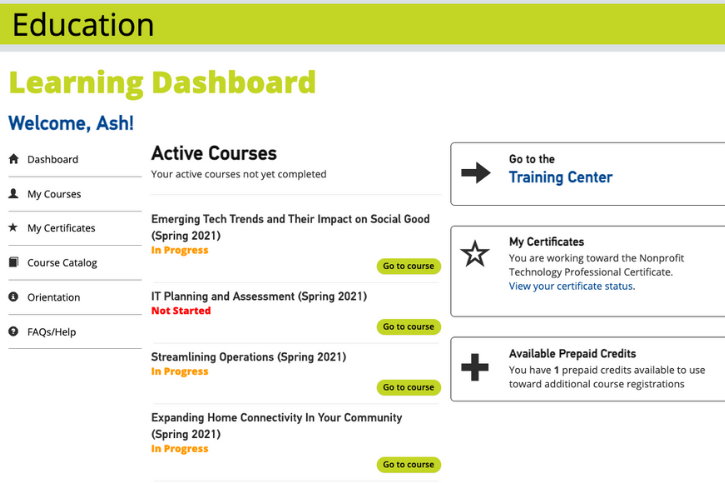 Screenshot of the new learning dashboard showing active courses and available prepaid credits.